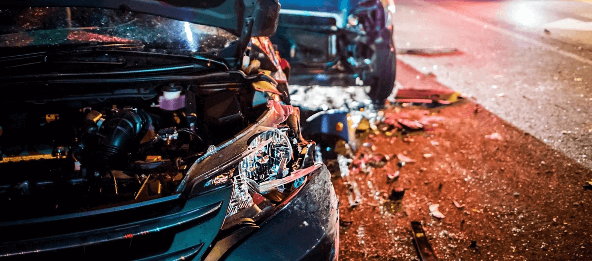 Vehicle damaged from accident